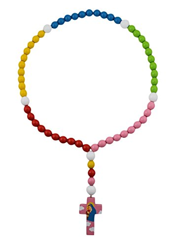 15mm Wood Bead First Rosary - with Pink Cross with Mary and Baby Jesus