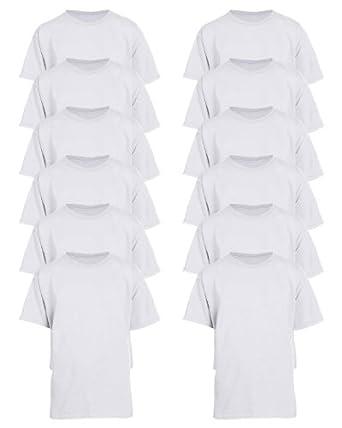Gildan Mens Seamless Double Needle T-Shirt, white, Large. ( Pack12 ) by Gildan