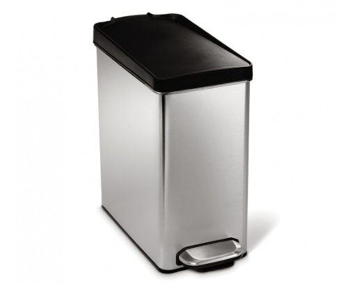 simplehuman Profile Step Trash Can, Stainless Steel, Plastic Lid, 10 L / 2.6 Gal (Bathroom Trash Can With Lid compare prices)