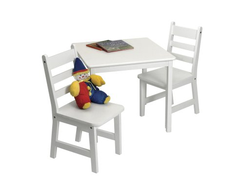 Lipper International 514W Child's Square Table and 2-Chair Set, White