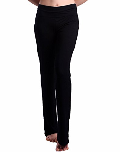 HDE Women's Fold Over Waist Yoga Lounge Pants Flare Leg Workout Leggings (Black, Small) (Yoga Womens Pants compare prices)