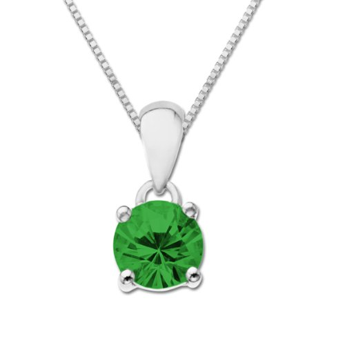 Sterling Silver Round Solitaire Emerald Pendant Necklace, 18