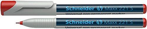 Schneider Marqueur non permanent pour rétroprojecteurs 221S,étui de 4 pcs., avec pointe fine S, 0,4 mm largeur de tracé Contenu: noir, rouge, bleue,