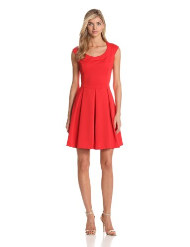 Maggy London Women's Scuba Fit and Flare Dress, Cherry Tomato, 12