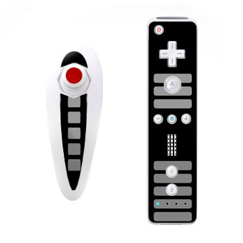 Retro Design Nintendo Wii Nunchuk + Remote Controller Protector Skin Decal Sticker