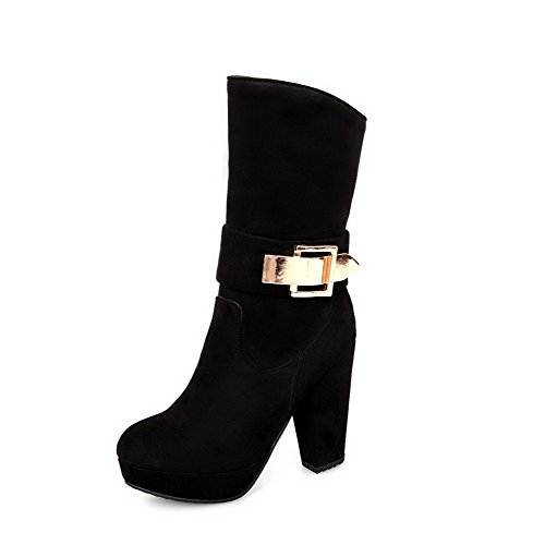 BeautyLover Womens Round Closed Toe High Heels PU Short Plush Solid Boots with Platform and Zipper