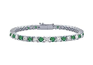 Emerald and Diamond Tennis Bracelet : Platinum - 1.00 CT TGW
