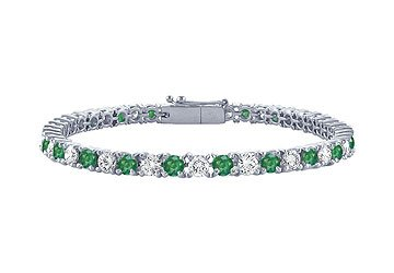 Emerald and Diamond Tennis Bracelet Platinum - 1.00 CT TGW