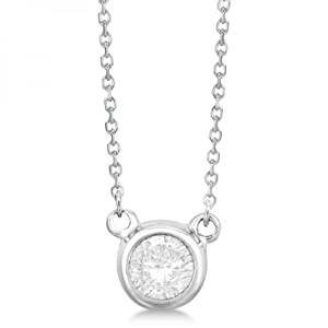 Allurez Women's Round Bezel Setting Diamond Pendant In 14K (0.35 Carats) White Gold