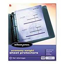Wilson Jones Top-Loading Sheet Protector, Economy Weight, 11 x 8.5 Inch Sheet Size, Clear, 100 Sheets (W21421)
