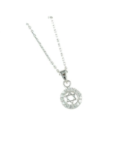 Sterling Silver Star of David & CZ Circle Necklace