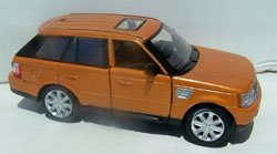 Kinsmart 1/38 Scale Diecast Pullback Range Rover Sport in Color Orange - 1