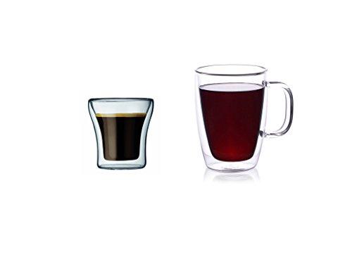 CoastLine Double Wall Glass Coffee Mug & Espresso Glass Set   Includes Pair of Glass Handled Mugs and Pair of Espresso Glasses   Espresso Shot Glass (2) & Durable Mug (2)   Lifetime Warranty (Microwavable Espresso Maker compare prices)