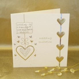 Luxury Wedding Invitations - Pack of 5 Cream & Gold