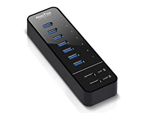 HooToo® HT-UH010 7-Port USB 3.0 HUB with 2 Smart Charging Ports for iPad/iPhone/SAMSUNG/HTC Smartphone/Tablet (12V/5A Power Adapter(8ft), USB 3.0 Cable, Latest VIA VL812-B2 Chipset and 9081 Firmware Updated)