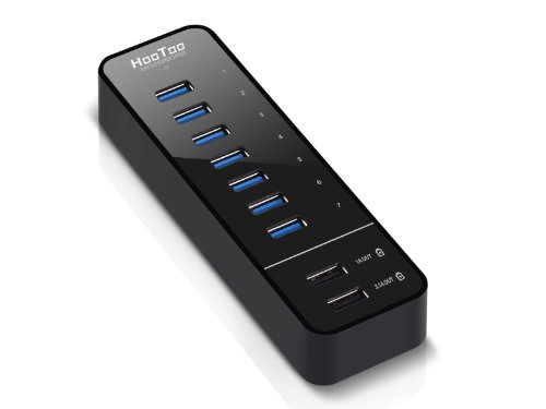 Lowest Prices! HooToo® HT-UH010 7-Port USB 3.0 HUB with 2 Smart Charging Ports for iPad/iPhone/SAMS...