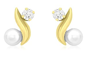 Carissima 9ct Yellow Gold CZ and Pearl Kiss Stud Earrings