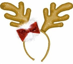 Gold Sequin Antlers with Bow - 1
