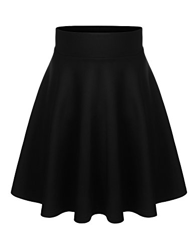 BIADANI Women Versatile Flared Stretch Wide Band Skater Skirts Black Medium