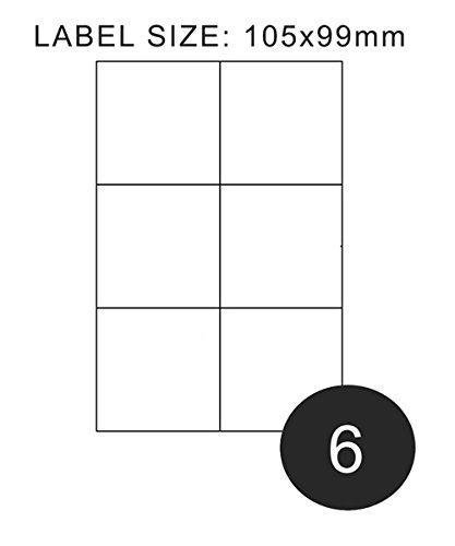 Peritus Étiquettes pour adresse Blanc mat 105x 99mm, 6par feuille A4, Lot de 100, 500, 1000et 2000 blanc