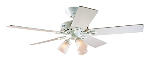Hunter 22434 52-Inch Sontera Three-Light Five-Blade Ceiling Fan, White with Frosted Globes