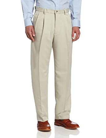 Haggar Mens Cool 18 Hidden Expandable Waist Pleat Front Pant