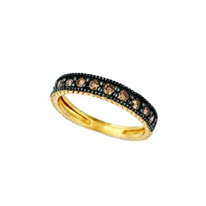 14 Karat Yellow Gold stack Motif Ring Enhanced With Chocolate Diamonds. (brown-Color SI-Clarity 0.16-Carat)