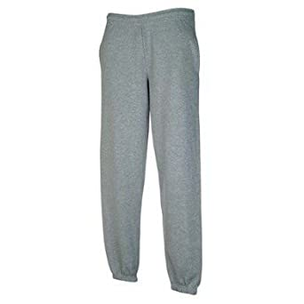 Fruit Of The Loom Mens Elasticated Cuff Jog Pants / Jogging Bottoms (S) (Heather Grey)