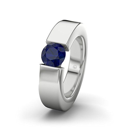 21DIAMONDS Women's Ring Nevada Blue Sapphire Brilliant Cut Engagement Ring - Silver Engagement Ring