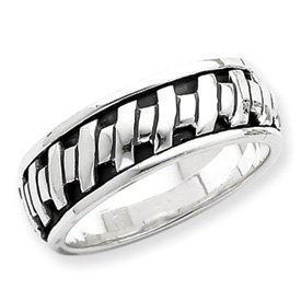 Genuine IceCarats Designer Jewelry Gift Sterling Silver Antiqued Spinning Band Size 8.00