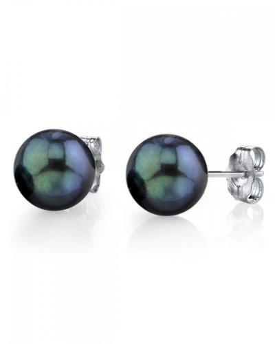 6.0-6.5mm Black Akoya Pearl Stud Earrings in 14K Gold - AA+ Quality
