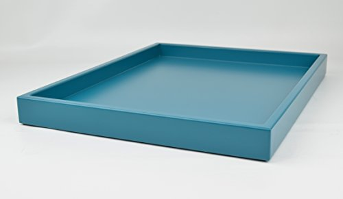 Decorative Tray Teal Blue Matte Lacquer 18 in. by 14 in. Shallow Low-profile Tray