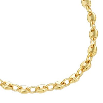 So Chic Jewels - 18K Gold Plated Coffee Bean Link Necklace - Length 50 Cm