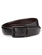 Coated Leather Rectangular Buckle Reversible Belt