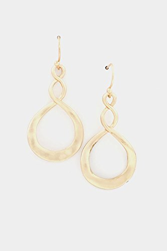 Glitz Finery Hammered Twisted Oval Earring (Matted Gold)