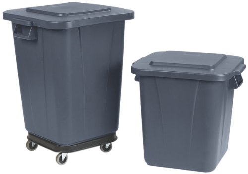 """Carlisle 34154023 Bronco Polyethylene Square Waste Container, 40 Gallon Capacity, 22-1/2"""" Length X 23-1/2"""" Width X 28-1/4"""" Height, Gray front-464253"""