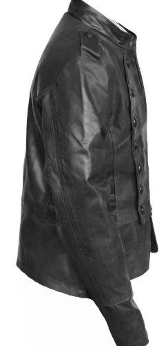 Handmade Fitters Women Military Style Leather Jacket - X-Large - Black