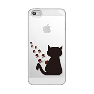 Apple / SoftBank / au iPhone5対応 携帯ケース 1876猫と足跡 ( クリア ) TPU