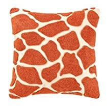 C & F Enterprises Expedition Orange and Cream Giraffe Square Pillow