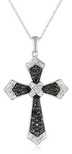 10k White Gold Black and White Diamond Cross Pendant Necklace (1/2 cttw, I-J Color, I2-I3 Clarity), 18''