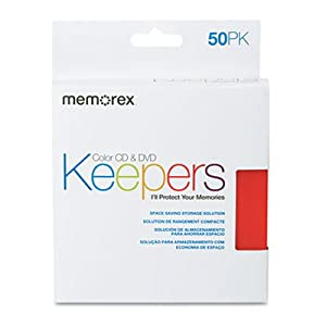 Memorex (01972) Slim Assorted 5 Color CD DVD Sleeves 50 Pack