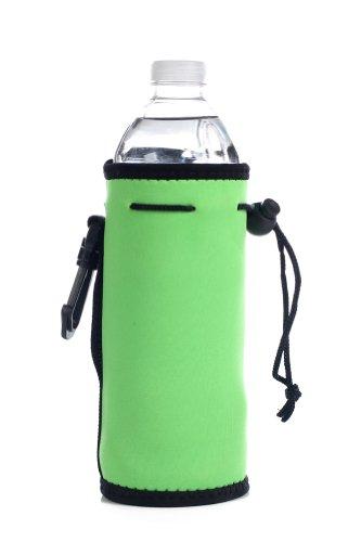 Neoprene Water Bottle Drawstring Insulator Cooler Koozie, Lime front-88037