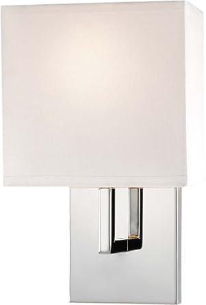 George Kovacs GKP470-077 1 Light Wall Sconce w/White Fabric Shade, Chrome