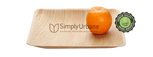 """Simply Urbane Wooden Palm Party 10"""" Square Plates :Very Stylish, Good looking, Wooden texture, Disposable & Ecofriendly