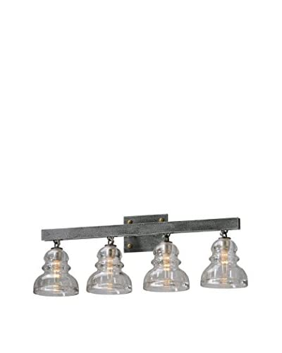 Shorewood Lighting Berger 4-Light Wall Bath, Old Silver/Clear