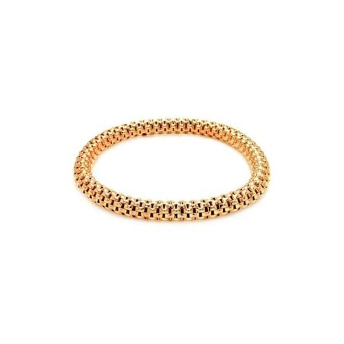 Sterling Silver Italian Rose Gold Plated Box Link Stretchable Bracelet   Thickness (6.85mm)