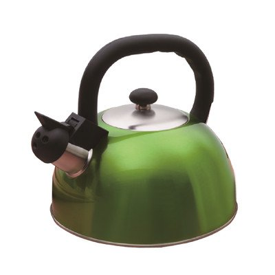 Creative Home Satin Mist Metallic Stainless Steel Whistling Tea Kettle, 2.6-Quart, Chartreuse