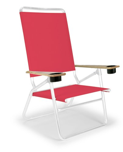 Telescope Casual Light And Easy High Boy Folding Beach Arm Chair With Cup Holders, Red With Gloss White Frame