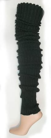Super Long Cable Knit Leg Warmers by Foot Traffic (One Size, Black)