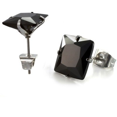 Men's Princess Cut Cubic Zirconia Stud Earrings Gemstone Color: Black, Total Carats: 1/2 Ct (5 mm)